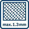 Cắt tối đa 1,3 mm vào kim loại