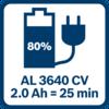Pin 2,0 Ah được sạc 80% sau 25 phút với GAL 3640 CV