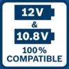 10,8 & 12 vôn 100% tương thích Tất cả dụng cụ, pin & bộ sạc Bosch Professional 10,8V tương thích 100% với tất cả dụng cụ, pin & bộ sạc Bosch Professional 12V