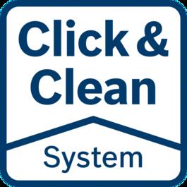 Hệ thống Click & Clean – 3 lợi ích lớn Một dạng nhìn rõ bề mặt làm việc: Bạn làm việc chính xác hơn và nhanh hơn Bụi có hại được khử ngay lập tức: Bảo vệ sức khỏe của bạn Ít bụi hơn: Tuổi thọ lâu hơn của dụng cụ và các phụ kiện