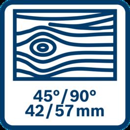 Cưa tối đa 42/57 mm vào gỗ ở 45/90°