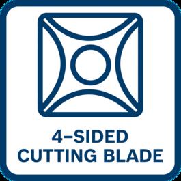 Hiệu suất cao nhờ lưỡi đảo chiều với 4 mép cắt để có các kết quả cắt tuyệt vời và tuổi thọ lâu hơn